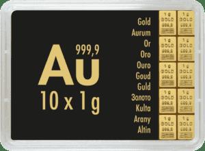 Combibaar 10 x 1 gram goud kopen