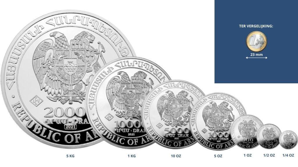 Zilveren munten kopen van diverse gewichten