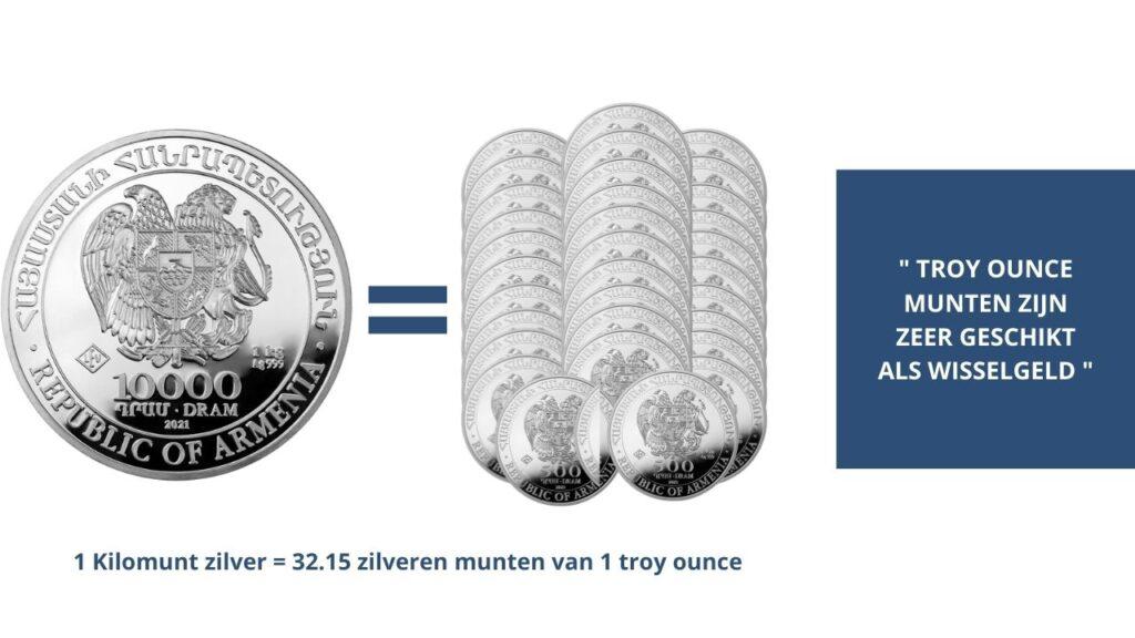 Zilveren munten of kilomunten zilver kopen